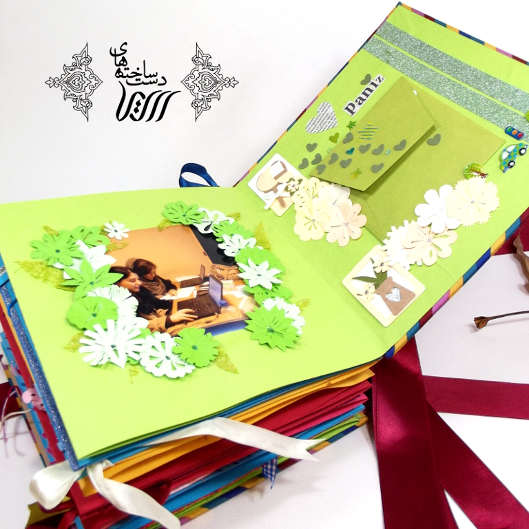 Accordion diary with collage